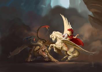 Pegasus versus Chimera by TheBeke