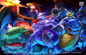 Kanto Mewtwo, Pikachu Charizard Venusaur Blastoise by logancure