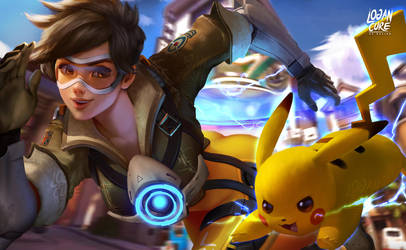 Tracer And Pikachu by logancure