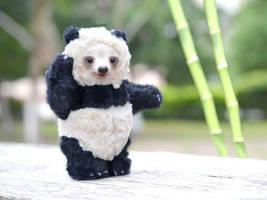Teddy Bear Panda.Mixed media. OOAK by SulizStudio