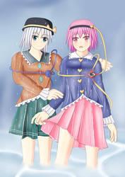 Satori and Koishi wet by swallowjp