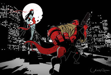 Hellboy and Elektra by Seeso2D
