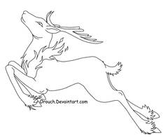 Free Fire Deer line art by JinKitsuka