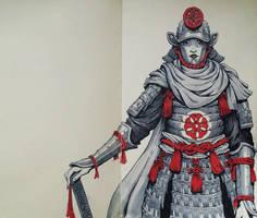 Inktober 2017 #8 - Samurai Lady by Teffles