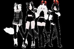 MMD OC - MONO DevilsWolf Family by AsukaJang8888