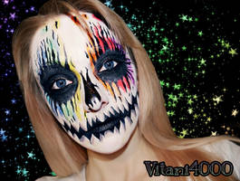 Pumpkin rainbow glitter skull explosion... by Vitani4000