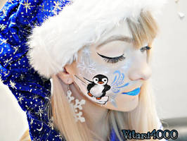 Snowball the Penguin - Face paint by Vitani4000