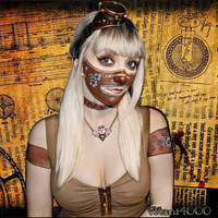 First Steampunk Face paint by Vitani4000