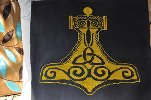 Thor's Hammer Cross Stitch by VickitoriaEmbroidery