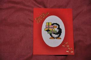 Penguin Xmas Card by VickitoriaEmbroidery