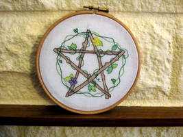 Pentacle Hoop by VickitoriaEmbroidery