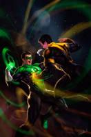 Green lantern vs Sinestro by dleoblack