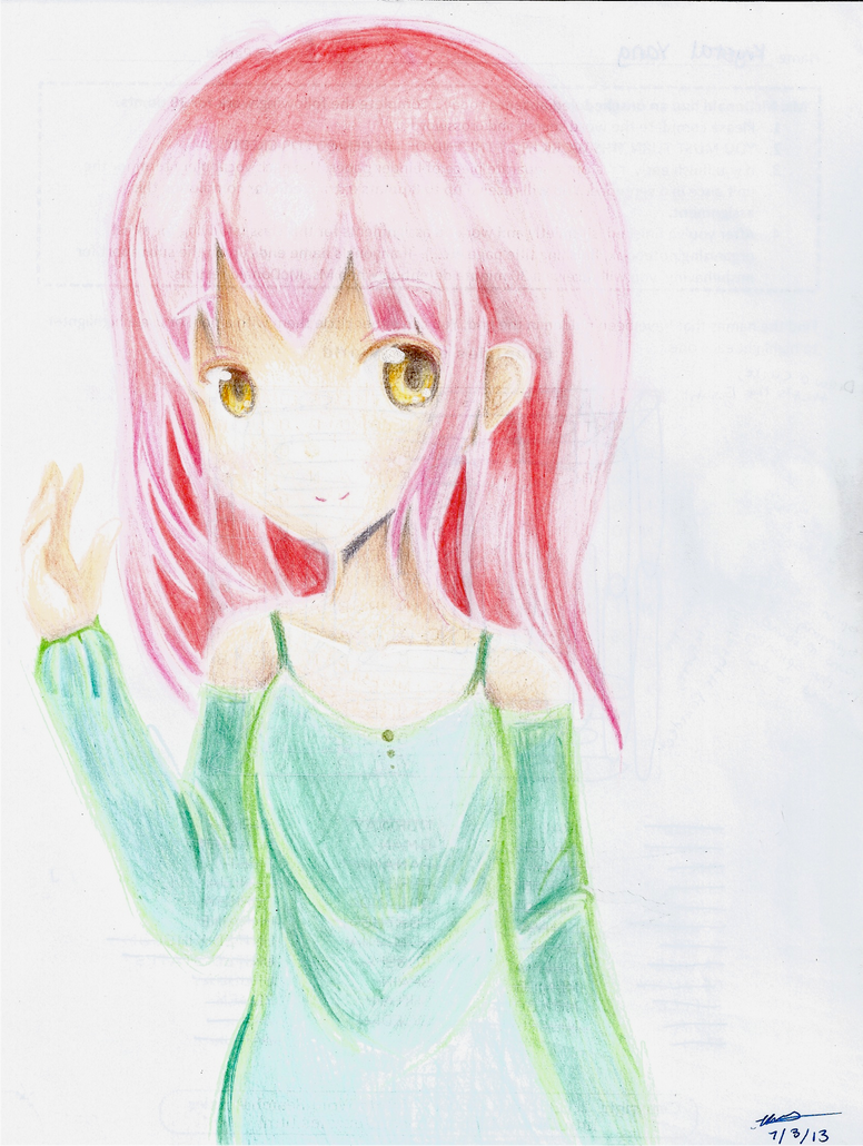 Colored Pencil Anime Girl By Prettykittygal On Deviantart