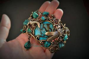bracelet with turquoise by DARiyaKUTEPOVA