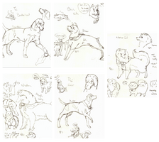 Okami Canine Warriors Sketches by SugarBonBonne