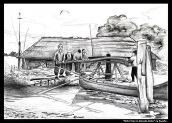 Fishermen in Danube Delta by ssasha