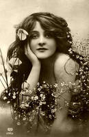 Beautiful Woman with Flowers by AJ-Stock-Girl