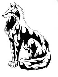 Tribal Wolf by ev-r-more578