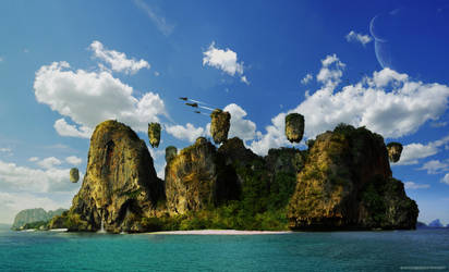 Sunset Island Matte Painting by ev-r-more578