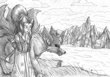 Girl and kitsune by s0lar1x