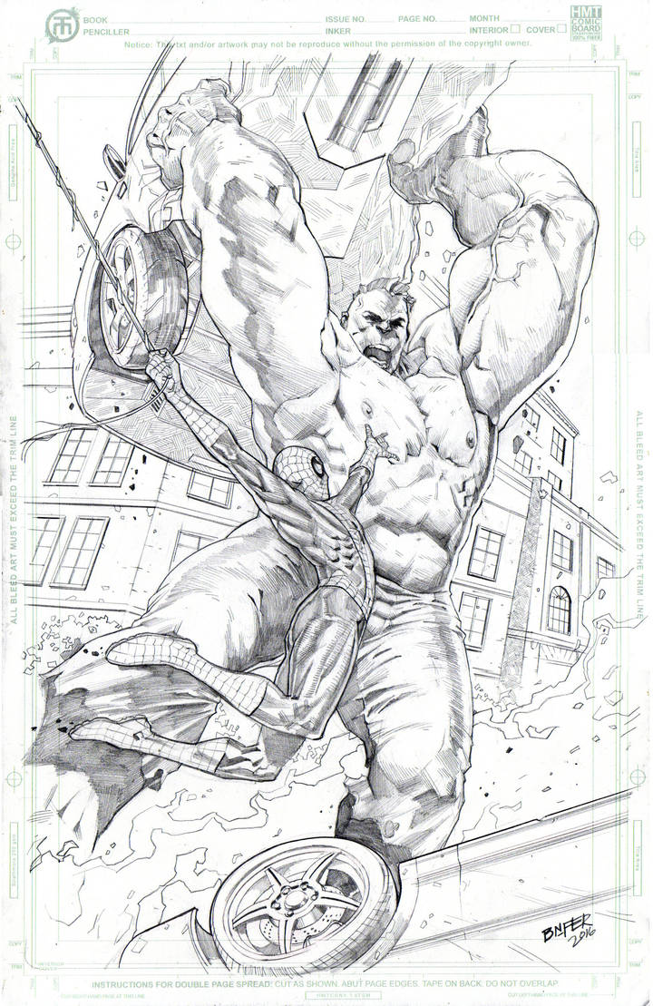 Spidey Vs Hulk 11x17 HMT Comic art board by BienFlores