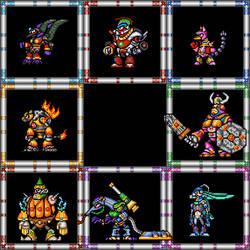 Megaman X7 DEMAKE - Old sprite design - Bosses by kensuyjin33