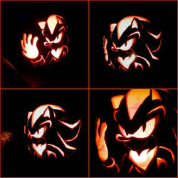 Shadow the Hedgehog_Pumpkin Carving Lit Up by TheShadAmyArtistO10