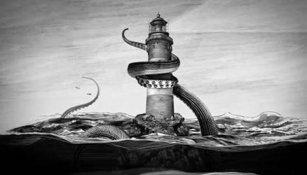 Kraken vs Lighthouse by srnoble