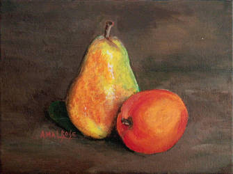 Still Life Pear and Apple by amalbose