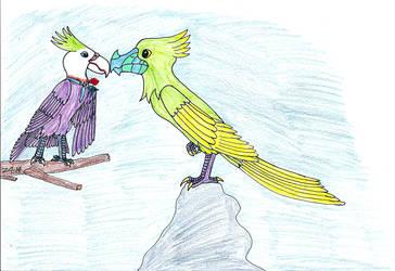 Purple and green birdz by Zakraz