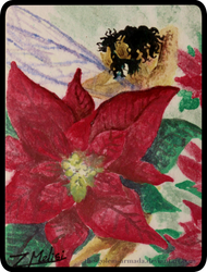The Poinsettia Fairy - ATC by The-Golem-Armada