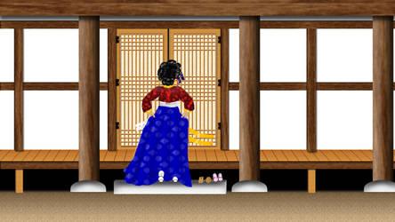 Gisaeng Entering Hanok by kimyoonmi