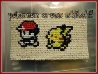 Ash and Pikachu Cross Stitch by photog-road