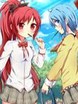 PockY-Sayaka Miki and Kyoko Sakura!-PockY by hyuugalanna