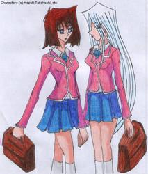 Kisara x Anzu - School Uniform by SamCyberCat