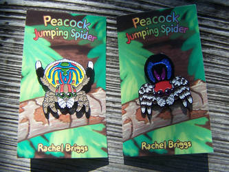Peacock and Rainbow Jumping Spider Enamel Pins by RacieB