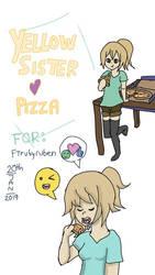 Yellow Sister Enjoying pizza  by AdamMuddyfox