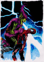 Green Goblin And Spider-man by samrogers
