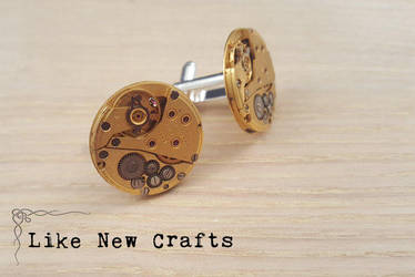 Gold cufflinks by LikeNewCrafts