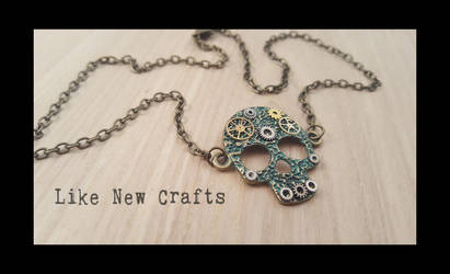 Steampunk skull necklace by LikeNewCrafts