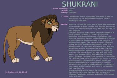 Character sheet - SHUKRANI by Nichers