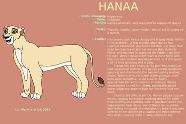 Character sheet - HANAA by Nichers