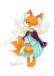 Fox and pumpkin by YaLis