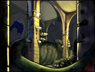 Dragon in Cathedral Background by Zureul