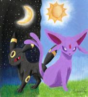 Umbreon and Espeon by GothNebula