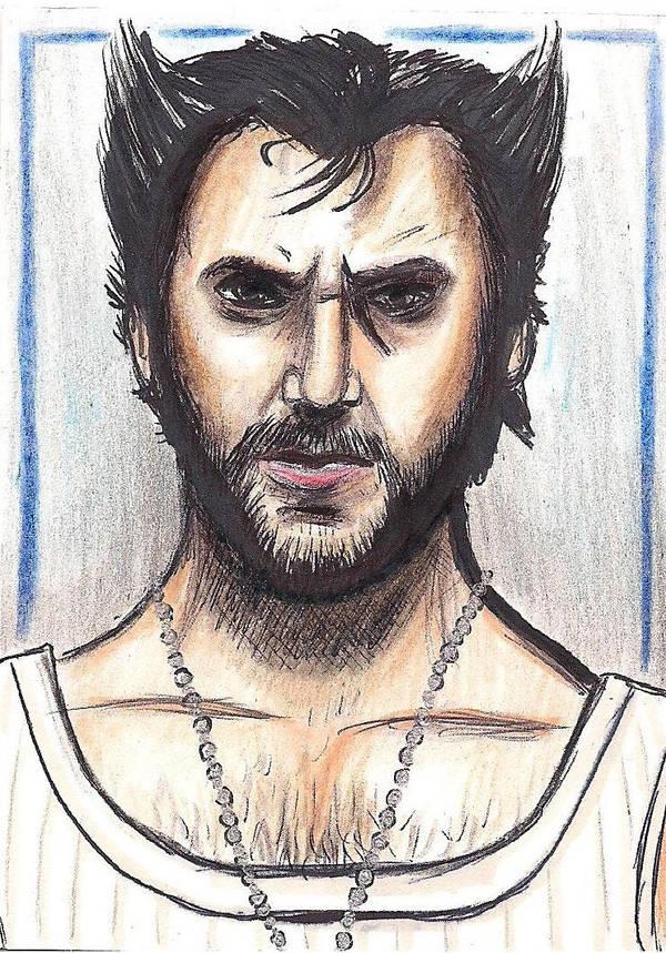 Logan Wolverine Hugh Jackman sketch card by kevinsunfiremunroe