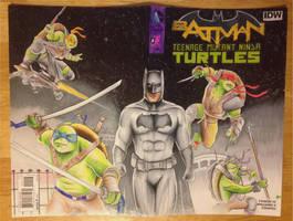 TMNT and Batman comic sketch cover Kevin J Munroe by kevinsunfiremunroe