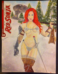 Red Sonja comic cover painting commission by kevinsunfiremunroe