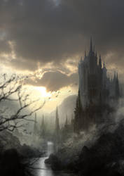 Rising sun on the castle by Kadejhi