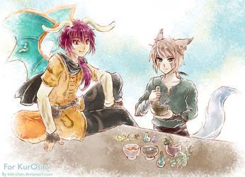 Suzu and Toren :: commission for KurOsira by bibi-chan